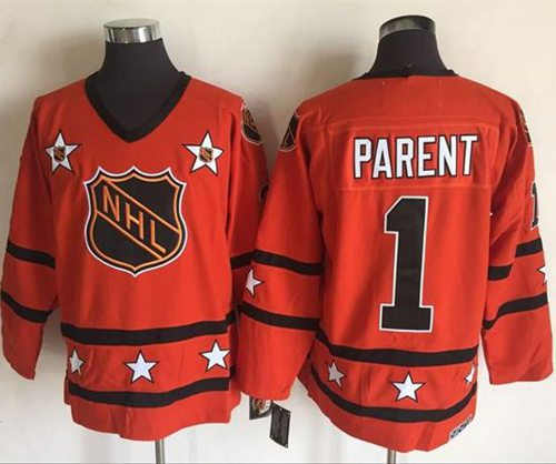 Flyers #1 Bernie Parent Orange All Star CCM Throwback Stitched NHL Jersey