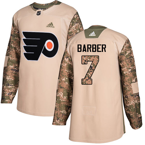Adidas Flyers #7 Bill Barber Camo Authentic Veterans Day Stitched NHL Jersey