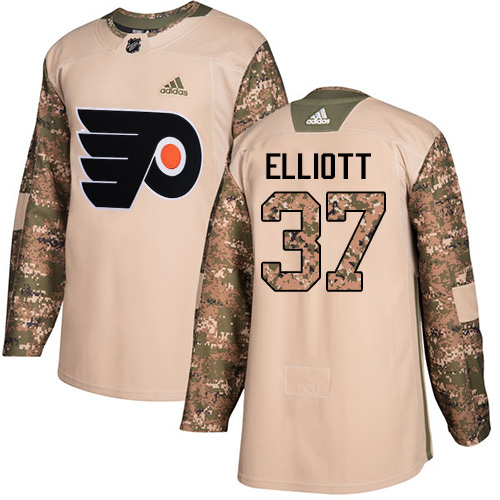 Adidas Flyers #37 Brian Elliott Camo Authentic Veterans Day Stitched NHL Jersey