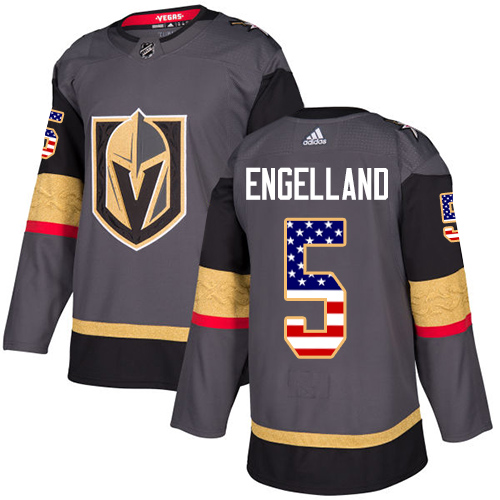 Adidas Golden Knights #5 Deryk Engelland Grey Home Authentic USA Flag Stitched NHL Jersey