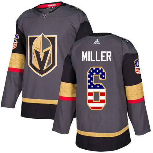 Adidas Golden Knights #6 Colin Miller Grey Home Authentic USA Flag Stitched NHL Jersey