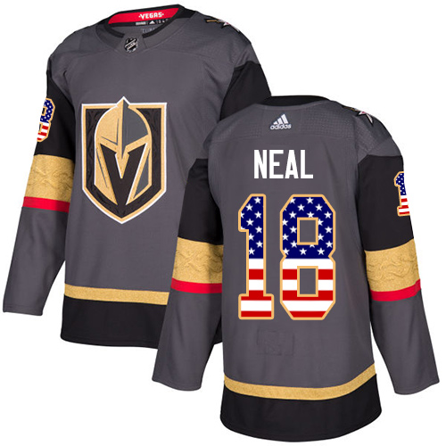 Adidas Golden Knights #18 James Neal Grey Home Authentic USA Flag Stitched NHL Jersey