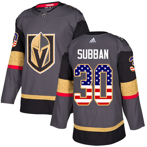 Adidas Golden Knights #30 Malcolm Subban Grey Home Authentic USA Flag Stitched NHL Jersey