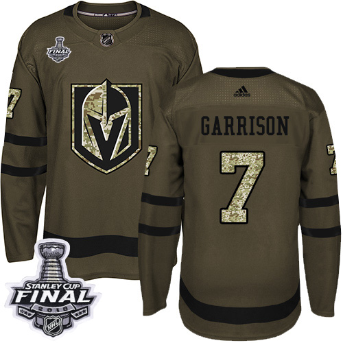 Adidas Golden Knights #7 Jason Garrison Green Salute to Service 2018 Stanley Cup Final Stitched NHL Jersey