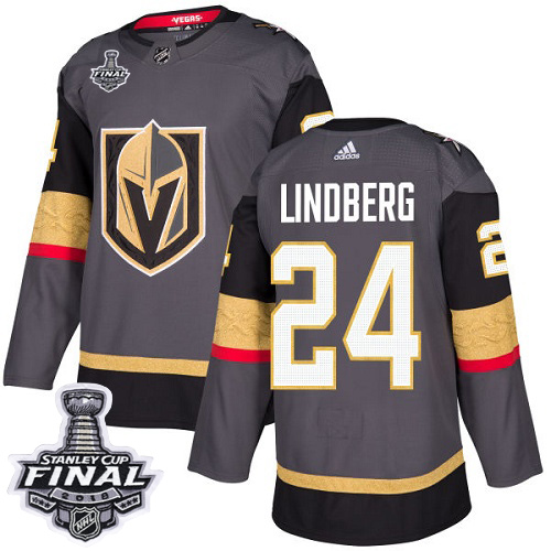 Adidas Golden Knights #24 Oscar Lindberg Grey Home Authentic 2018 Stanley Cup Final Stitched NHL Jersey