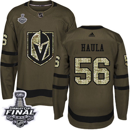 Adidas Golden Knights #56 Erik Haula Green Salute to Service 2018 Stanley Cup Final Stitched NHL Jersey