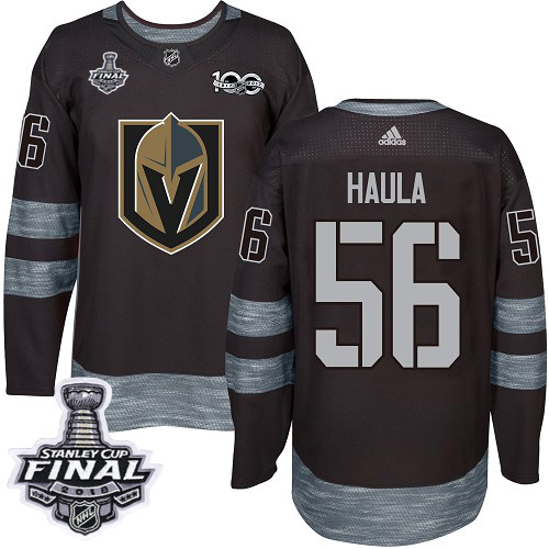 Adidas Golden Knights #56 Erik Haula Black 1917-100th Anniversary 2018 Stanley Cup Final Stitched NHL Jersey