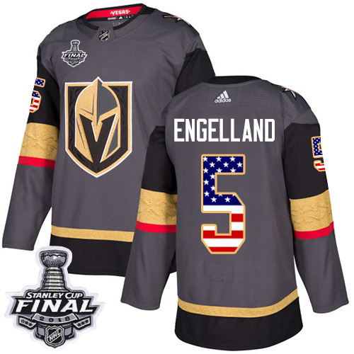 Adidas Golden Knights #5 Deryk Engelland Grey Home Authentic USA Flag 2018 Stanley Cup Final Stitched NHL Jersey