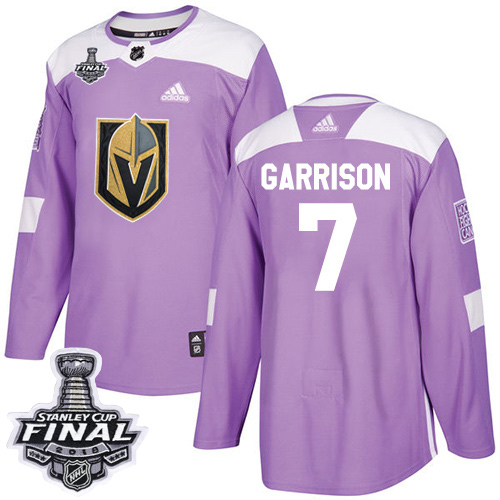 Adidas Golden Knights #7 Jason Garrison Purple Authentic Fights Cancer 2018 Stanley Cup Final Stitched NHL Jersey