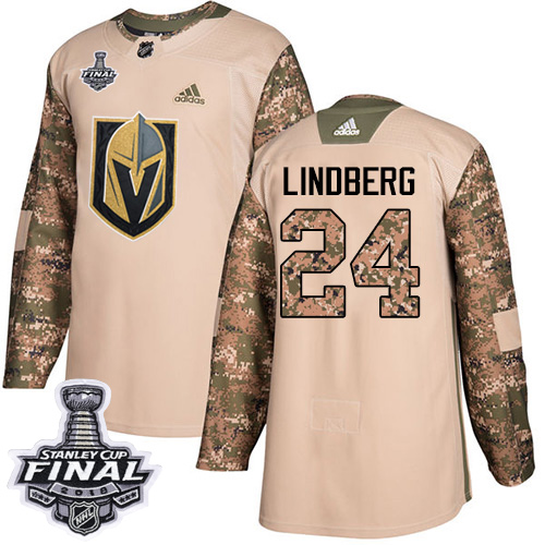 Adidas Golden Knights #24 Oscar Lindberg Camo Authentic Veterans Day 2018 Stanley Cup Final Stitched NHL Jersey