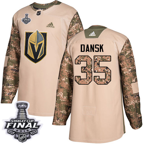 Adidas Golden Knights #35 Oscar Dansk Camo Authentic Veterans Day 2018 Stanley Cup Final Stitched NHL Jersey