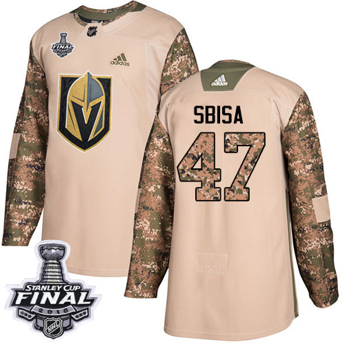Adidas Golden Knights #47 Luca Sbisa Camo Authentic Veterans Day 2018 Stanley Cup Final Stitched NHL Jersey