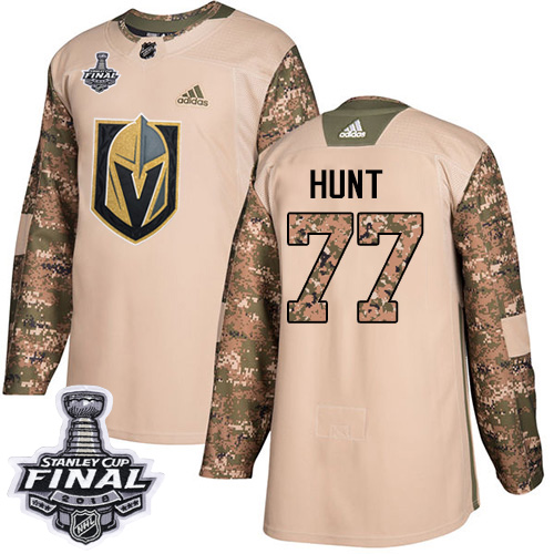 Adidas Golden Knights #77 Brad Hunt Camo Authentic Veterans Day 2018 Stanley Cup Final Stitched NHL Jersey