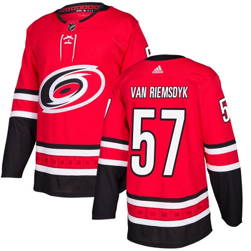 Adidas Hurricanes #57 Trevor Van Riemsdyk Red Home Authentic Stitched NHL Jersey