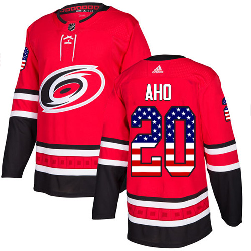 Adidas Hurricanes #20 Sebastian Aho Red Home Authentic USA Flag Stitched NHL Jersey