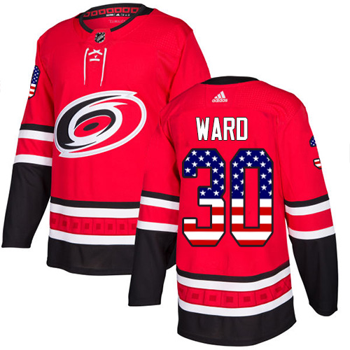 Adidas Hurricanes #30 Cam Ward Red Home Authentic USA Flag Stitched NHL Jersey
