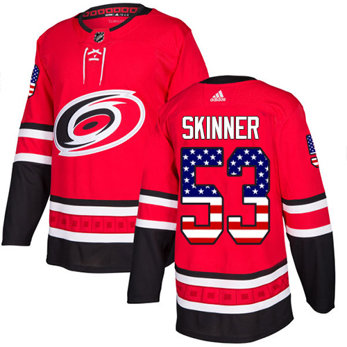 Adidas Hurricanes #53 Jeff Skinner Red Home Authentic USA Flag Stitched NHL Jersey