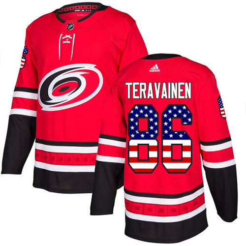 Adidas Hurricanes #86 Teuvo Teravainen Red Home Authentic USA Flag Stitched NHL Jersey