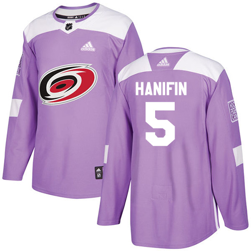 Adidas Hurricanes #5 Noah Hanifin Purple Authentic Fights Cancer Stitched NHL Jersey