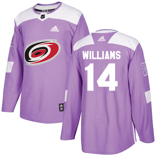Adidas Hurricanes #14 Justin Williams Purple Authentic Fights Cancer Stitched NHL Jersey