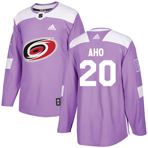 Adidas Hurricanes #20 Sebastian Aho Purple Authentic Fights Cancer Stitched NHL Jersey