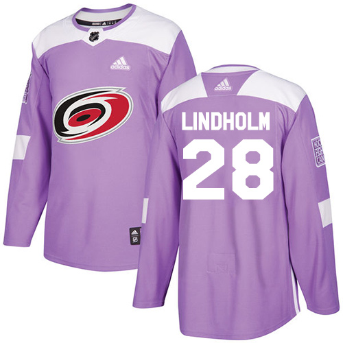 Adidas Hurricanes #28 Elias Lindholm Purple Authentic Fights Cancer Stitched NHL Jersey