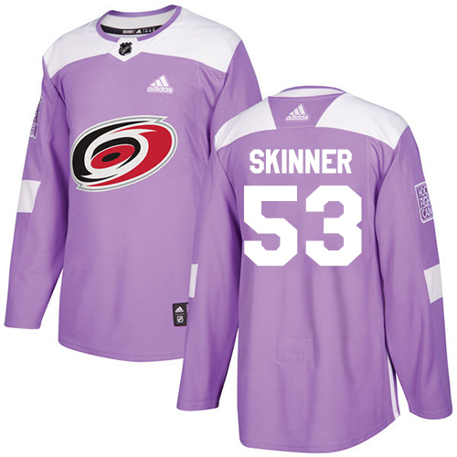 Adidas Hurricanes #53 Jeff Skinner Purple Authentic Fights Cancer Stitched NHL Jersey