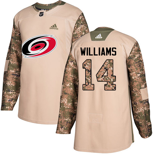 Adidas Hurricanes #14 Justin Williams Camo Authentic Veterans Day Stitched NHL Jersey