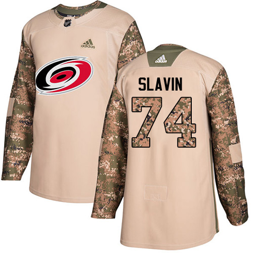 Adidas Hurricanes #74 Jaccob Slavin Camo Authentic Veterans Day Stitched NHL Jersey