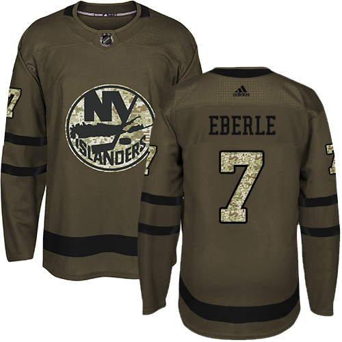 Adidas Islanders #7 Jordan Eberle Green Salute to Service Stitched NHL Jersey