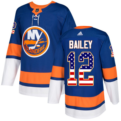 Adidas Islanders #12 Josh Bailey Royal Blue Home Authentic USA Flag Stitched NHL Jersey