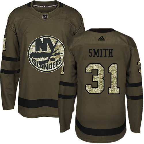 Adidas Islanders #31 Billy Smith Green Salute to Service Stitched NHL Jersey