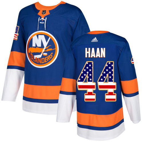 Adidas Islanders #44 Calvin De Haan Royal Blue Home Authentic USA Flag Stitched NHL Jersey