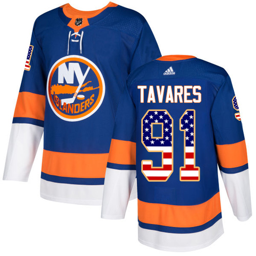 Adidas Islanders #91 John Tavares Royal Blue Home Authentic USA Flag Stitched NHL Jersey