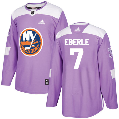 Adidas Islanders #7 Jordan Eberle Purple Authentic Fights Cancer Stitched NHL Jersey