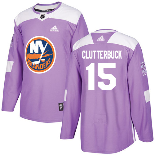 Adidas Islanders #15 Cal Clutterbuck Purple Authentic Fights Cancer Stitched NHL Jersey