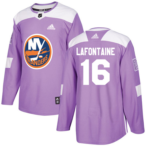 Adidas Islanders #16 Pat LaFontaine Purple Authentic Fights Cancer Stitched NHL Jersey