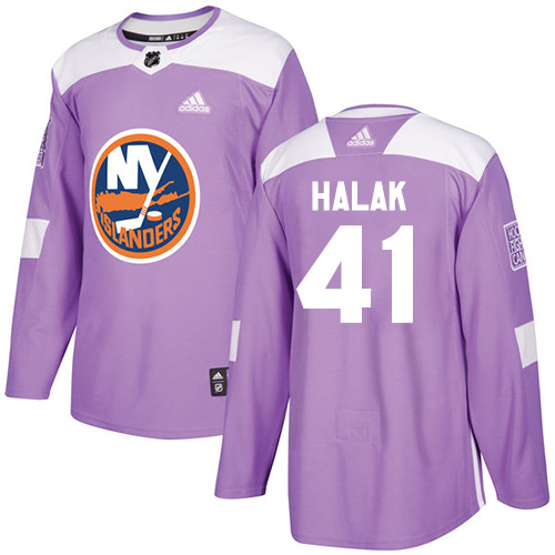 Adidas Islanders #41 Jaroslav Halak Purple Authentic Fights Cancer Stitched NHL Jersey