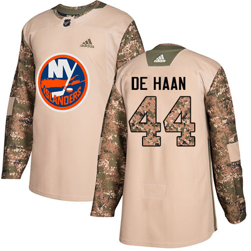 Adidas Islanders #44 Calvin De Haan Camo Authentic Veterans Day Stitched NHL Jersey