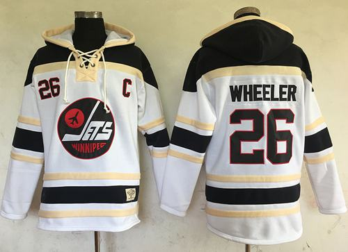 Jets #26 Blake Wheeler White Sawyer Hooded Sweatshirt Stitched NHL Jersey