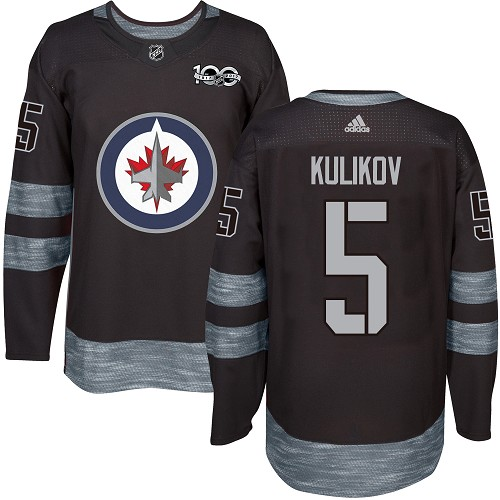 Adidas Jets #5 Dmitry Kulikov Black 1917-100th Anniversary Stitched NHL Jersey
