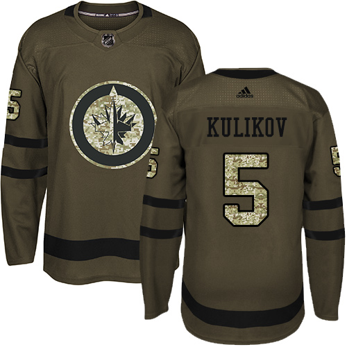 Adidas Jets #5 Dmitry Kulikov Green Salute to Service Stitched NHL Jersey