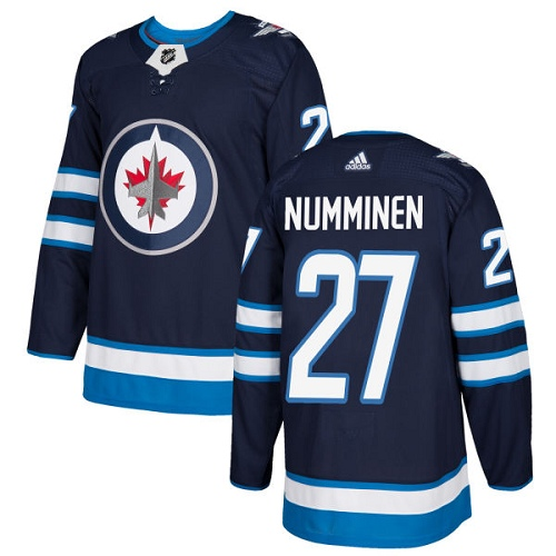 Adidas Jets #27 Teppo Numminen Navy Blue Home Authentic Stitched NHL Jersey