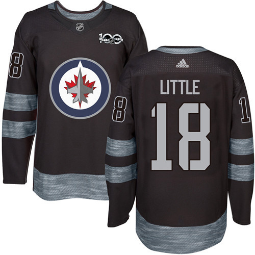 Adidas Jets #18 Bryan Little Black 1917-100th Anniversary Stitched NHL Jersey