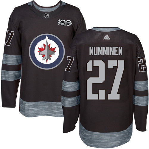Adidas Jets #27 Teppo Numminen Black 1917-100th Anniversary Stitched NHL Jersey