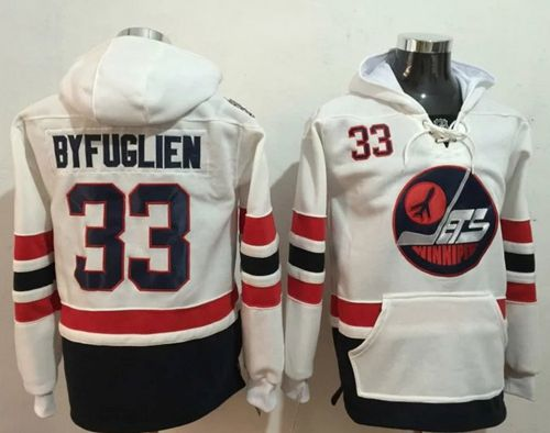 Jets #33 Dustin Byfuglien White Name & Number Pullover NHL Hoodie