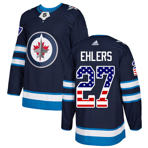 Adidas Jets #27 Nikolaj Ehlers Navy Blue Home Authentic USA Flag Stitched NHL Jersey