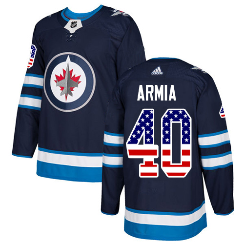 Adidas Jets #40 Joel Armia Navy Blue Home Authentic USA Flag Stitched NHL Jersey