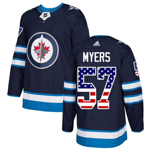Adidas Jets #57 Tyler Myers Navy Blue Home Authentic USA Flag Stitched NHL Jersey