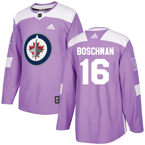 Adidas Jets #16 Laurie Boschman Purple Authentic Fights Cancer Stitched NHL Jersey